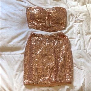 Tobi Two Piece Set Gold Sequin Size Small